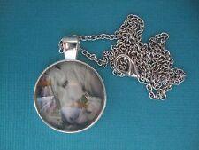 Unicorn & Foal Necklace & Pendant Glass Metal Chain Silver Tone Fantasy Horse