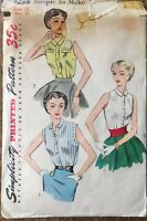 Vintage SIMPLICITY Sleeveless Blouse MCM #4238 pattern Sz 16 Bust 34