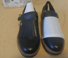 NIB Size 8 Black Leather Clarks Griffin Mia Oxfords Brogue Shoes Flats $100+