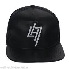 Trendy Black Leather Snapback Hiphop Cap