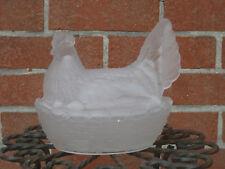grande poule bonbonnière en verre satiné