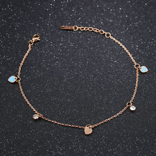Blue Heart Cz Rose Gold Gp Link Chain Surgical Stainless Steel Ankle Bracelet
