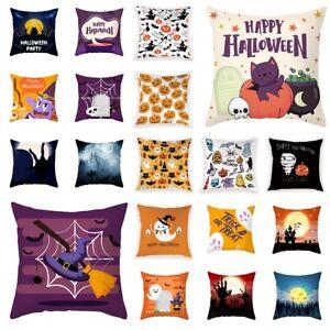 """18"""" Halloween Pumpkin Pillow Case Waist Throw Cushion Cover Sofa Home Car Decor"""