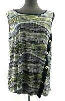 Rue Juju Womens Sleeveless Top Multi Colored Textured Stripes Casual Blouse Plus