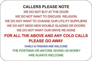 Callers Please Note No Cold Calls, Cold Callers Go Away Self Adhesive Sticker