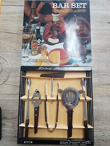 Rare Vintage ROSEWOOD STAINLESS Japan BAR UTENSILS Set Man Cave New Old Stock