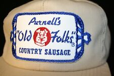 Purnells Old Folks Country Sausage Patch K-Products Snapback Trucker Cap Hat VTG