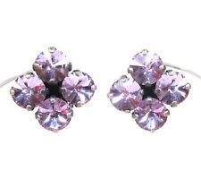 SoHo® Ohrclips quadrat mit alexandrite rivoli preciosa Strass violet changierend