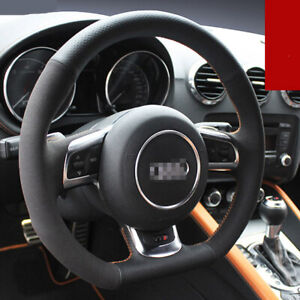 Hand-stitched Black leather Car Steering Wheel Stitch on Wrap Cover for Audi TT