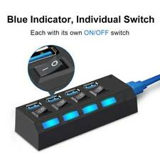 4Ports USB3.0 Multi High Speed HUB Splitter With ON/OFF Switch For Laptop PC Max