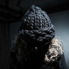 ByTheR Unique Thick Wool Hand Made  Urban Helsinki Knit Beanie Hat Black  N