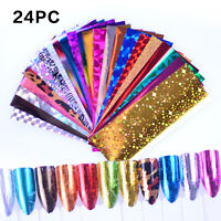 24Pcs Holographic Laser Nail Art Foils Transfer Stickers Decals Mirror Wrap Tips