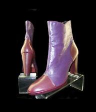 New NINE WEST Women Purple Leather High Heel Side Zip Winter Boot Shoe Sz 9.5 M
