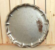 Antique metal round serving tray platter