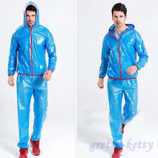 Shiny wet look glanz pvc nylon track suit sport mens M jacket pants see through