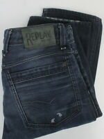 REPLAY LENALDO M972S Men W31/L32 Fade Effect Button Fly Dark Blue Jeans 23908-JS