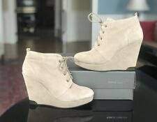 Vince Camuto Taupe Winter Ankle Booties Kelliana Wedge Heel Lace Up Fall 7.5