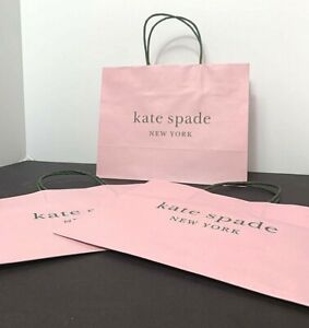 """NEW Kate Spade Lot of 3 Shopping Paper Gift Bags Pink & Green 10"""" x 8"""" x 4.5"""""""