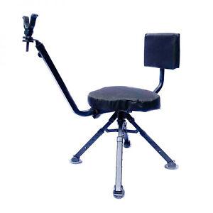 BenchMaster 4 Leg Portable Ground Blind Adjustable Rotating Seat Chair,  Black