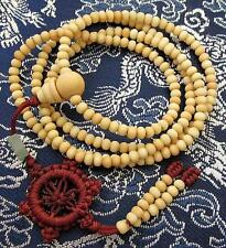 216 Wooden Mala Dharma Chakra Meditation Buddha Bracelet Necklace Cream & Pouch