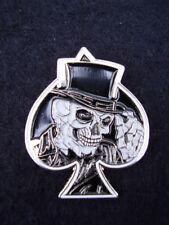 Skull Ace Of Spades Poker Gambling Card B/W Enamel Biker Jacket/Coat Pin Badge