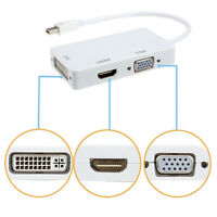 NEW 3 in1 DisplayPort Thunderbolt to DVI VGA HDMI Adapter for Apple MacBook iMac