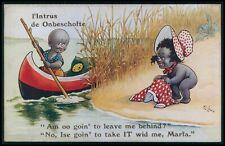 art Lewin Black Americana nude woman & canoe voyeur original 1910s postcard