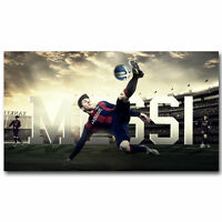 Art LIONEL MESSI Soccer Star Sport Wall Fabric Cloth Poster 812