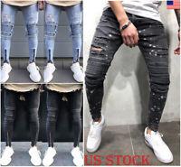 Mens Slim Fit Jeans Stretch Denim Pants Slim Skinny Casual Jeans Trousers Lot
