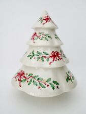 Lenox white ceramic Christmas tree red ribbons gold stars holly 10""