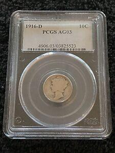 1916-D PCGS AG 03 - 10C Mercury Dime