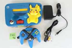 Nintendo 64 console Pokemon Pikachu blue Yellow Japan expansion pack working D6C