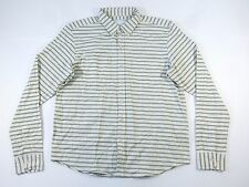 LUCIO CASTRO STRIPED IVORY GRAY LARGE BUTTON DOWN SHIRT MENS NWT NEW