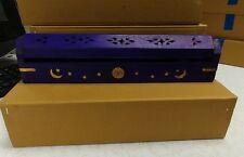 Coffin Incense Burner Black w/ Brass Moon Sun  Stars Carved Wood Cones & Sticks