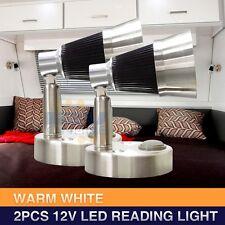 2*12V LED Swivel Wall Mount Bedside Reading Lights Table Book Lamp RV Caravan WW