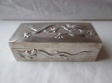 Antique Chinese Silver Hammered Dragon Trinket Box. Wang Hing. Circa 1900.