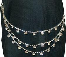 GLAM DIAMANTE RHINESTONE HAIR CHAIN SILVER JEWELLERY BLACK LABEL