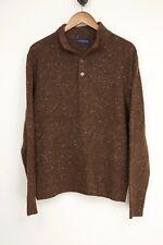 Scott Barber Mens Sweater L Brown Speckle Wool Cashmere Blend Long Sleeve 781689852