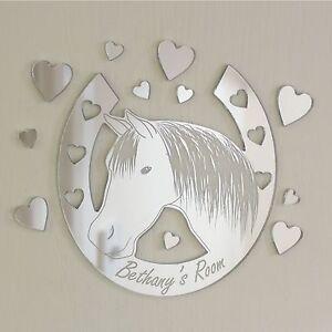 Horse Shoe Hearts Mirror Personalised Door Name Plaque Boy Girls Bed Room Sign