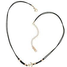 HAFEN-KLUNKER Choker Halskette Anker 110439 Textil Edelstahl Schwarz Rosegold
