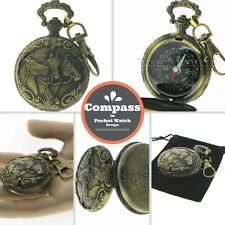 Liquid Filled Compass Gold Horses Pocket Watch Design Outdoor Camping Hiking 29
