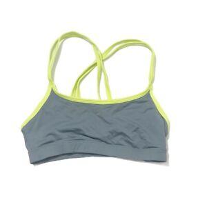 Victorias Secret Yoga Crossback LOVE PINK Sports Bra Gray Neon Green Size Small