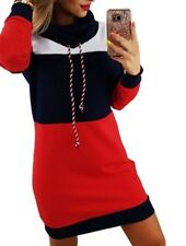 Long Sleeve Hooded Dress Casual Striped Turtleneck Ladies Sweatshirt Clothes Fit