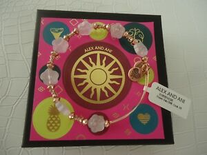 Alex and Ani CORAL FLOWER HALO Bangle Bracelet Shiny Rose New W/Tag Card & Box