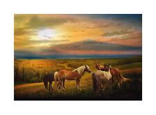 Landschaft & Pferde Premium Leinwand | Keilrahmen Bild Wandbild Natur | M1