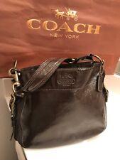 COACH Patent Dark Brown Leather Shoulder Bag # E0873-12735