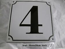 Mega Groß Hausnummer Emaille Nr 4 schwarze Zahl weißer Hintergrund 20cmx20 cm