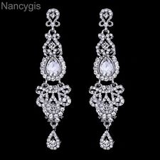 Bridal Long Chandelier Silver Crystal Drop Party Wedding Earrings
