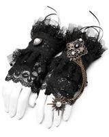Punk Rave Steampunk Fingerless Cuff Gloves Black Lace Victorian Copper Chain VTG
