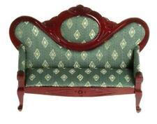 Dolls House Mahogany & Green Fauteil Sofa Victorian Living Room Furniture
